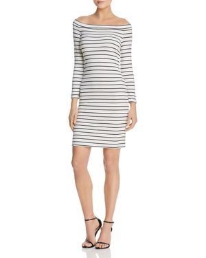 Bb Dakota Bridget Striped Off-the-Shoulder Dress