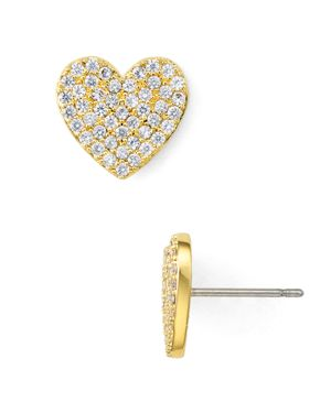 Yours Truly Pave Heart Stud Earrings, Gold