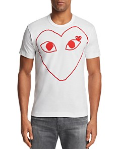 Comme Des Garcons PLAY - Red Outline Heart Short Sleeve Tee