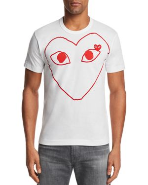 Comme Des Garcons Play Red Outline Heart Short Sleeve Tee