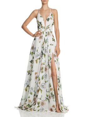 FAVIANA COUTURE FLORAL-PRINT V-NECK GOWN