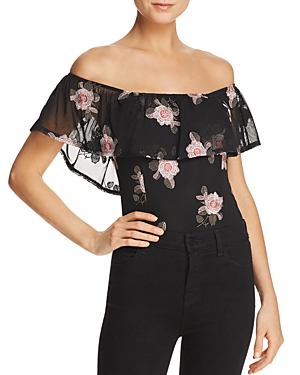 Band Of Gypsies BAND OF GYPSIES RUFFLED FLORAL-PRINT OFF-THE-SHOULDER BODYSUIT