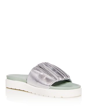 DANIELLA LEHAVI Women'S Sahara Soft Leather Platform Slide Sandals in Silver