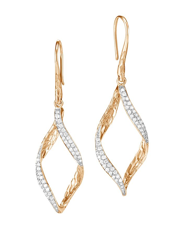 JOHN HARDY - 18K Yellow Gold Classic Chain Pavé Diamond Twisted Wave Drop Earrings