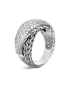 John Hardy Sterling Silver Classic Chain Pavé Diamond Arch Crossover Ring - 100% Exclusive - Bloomingdale's_0