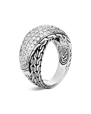 John Hardy Sterling Silver Classic Chain Pave Diamond Arch Crossover Ring - 100% Exclusive