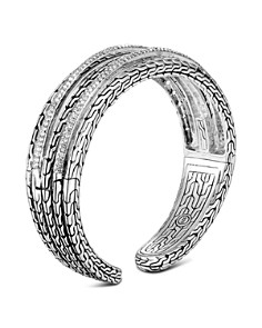 John Hardy Sterling Silver Classic Chain Pavé Diamond Medium Kick Cuff - 100% Exclusive - Bloomingdale's_0