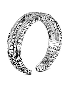 John Hardy - Sterling Silver Classic Chain Pavé Diamond Medium Kick Cuff - 100% Exclusive