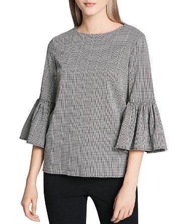 $Calvin Klein Plaid Bell Sleeve Blouse - Bloomingdale's