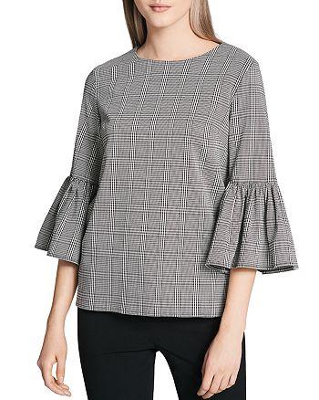 Calvin Klein - Plaid Bell Sleeve Blouse