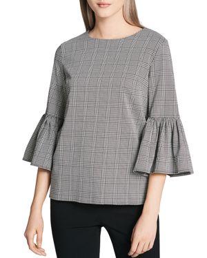 Calvin Klein Plaid Bell Sleeve Blouse