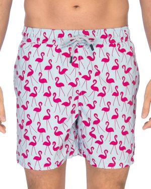 TOM & TEDDY Flamingo Print Swim Trunks in Fuchsia