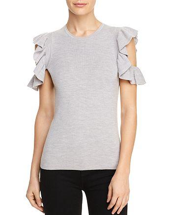 Elie Tahari - Magdalene Ruffle Cold Shoulder Sweater