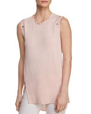 SLEEVELESS MIXED MATERIAL TOP W/ BUTTON DETAIL