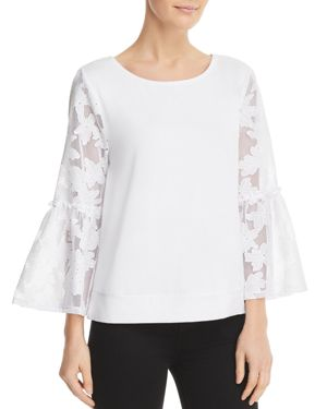 Cupio Floral Lace Bell Sleeve Top