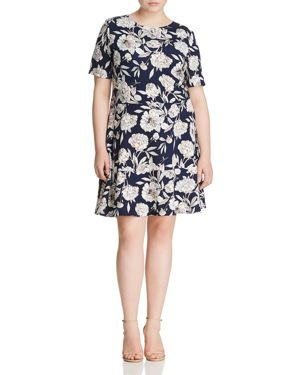 Love Ady Plus Textured Floral-Print Dress