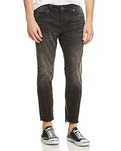 True Religion - Frayed Finn Slim Tapered Jeans in Dark Envy