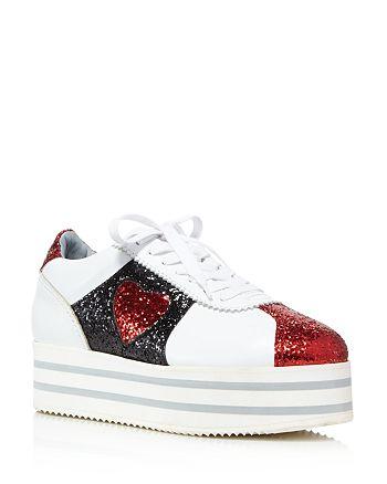 Chiara Ferragni - Women's Leather & Glitter Heart Platform Sneakers