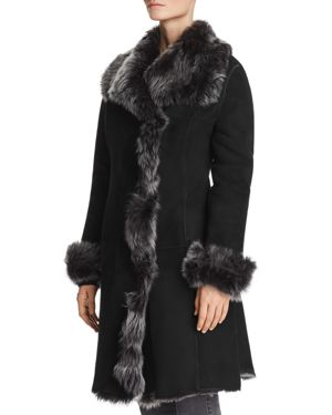 MAXIMILIAN FURS DIVINE SHEARLING COAT WITH TOSCANA STAND COLLAR - 100% EXCLUSIVE