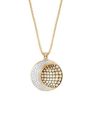 18K Yellow Gold Dot Pave Diamond Crescent Pendant Necklace, 36, White/Gold
