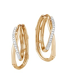 John Hardy 18K Yellow Gold Bamboo Pavé Diamond Earrings - Bloomingdale's_0