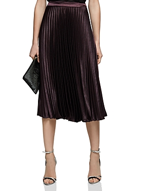 Reiss Alisa Metallic Pleated Skirt