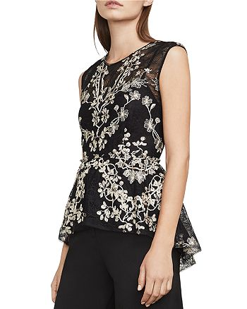 BCBGMAXAZRIA - Jaxie Embroidered Lace Peplum Top