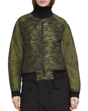 GIBSON QUILTED CAMO JACQUARD BOMBER JACKET