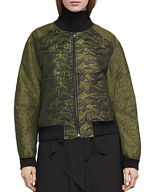 Bcbgmaxazria Gibson Quilted Camo Jacquard Bomber Jacket