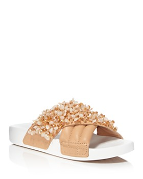 Tory Burch - Women's Logan Embellished & Quilted Leather Pool Slide Sandals Product Description