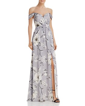 fe4b60729134 Bariano - Off-the-Shoulder Floral Gown ...