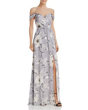 BARIANO Off-The-Shoulder Floral Gown in Open White