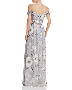 Bariano - Off-the-Shoulder Floral Gown