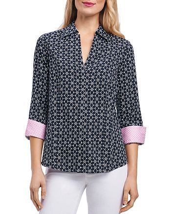 Foxcroft - Optic Floral-Print Button-Down Top