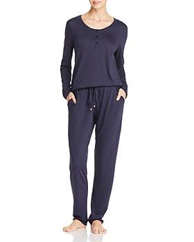Hanro - Sleep & Lounge Long Sleeve Henley & Knit Sleep Pants