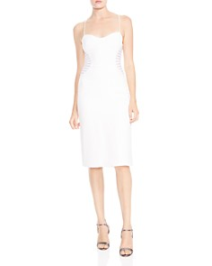 HALSTON HERITAGE - Strip-Appliqué Sheath Dress