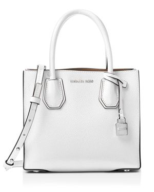 Mercer Leather Crossbody Bag - White, Optic White/Silver