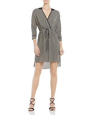 Halston Heritage Striped Faux-Wrap Dress