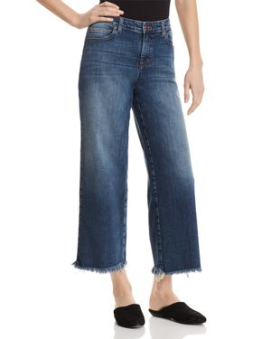 Eileen Fisher Frayed Wide-Leg Ankle Jeans in Aged Indigo 2859967