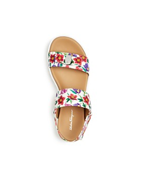 Salvatore Ferragamo - Girls' Onda Floral Print Leather Slingback Platform Sandals - Toddler, Little Kid, Big Kid