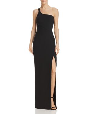 Camden One-Shoulder Gown W/ Slit in Black