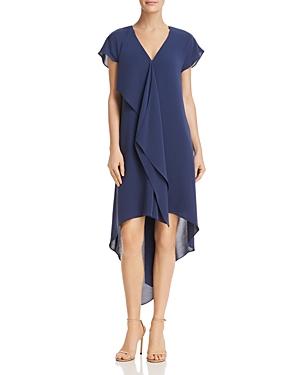Adrianna Papell Gauzy High/Low Crepe Dress