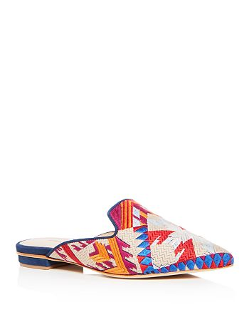 SCHUTZ - Women's Graceanne Embroidered Pointed Toe Mules