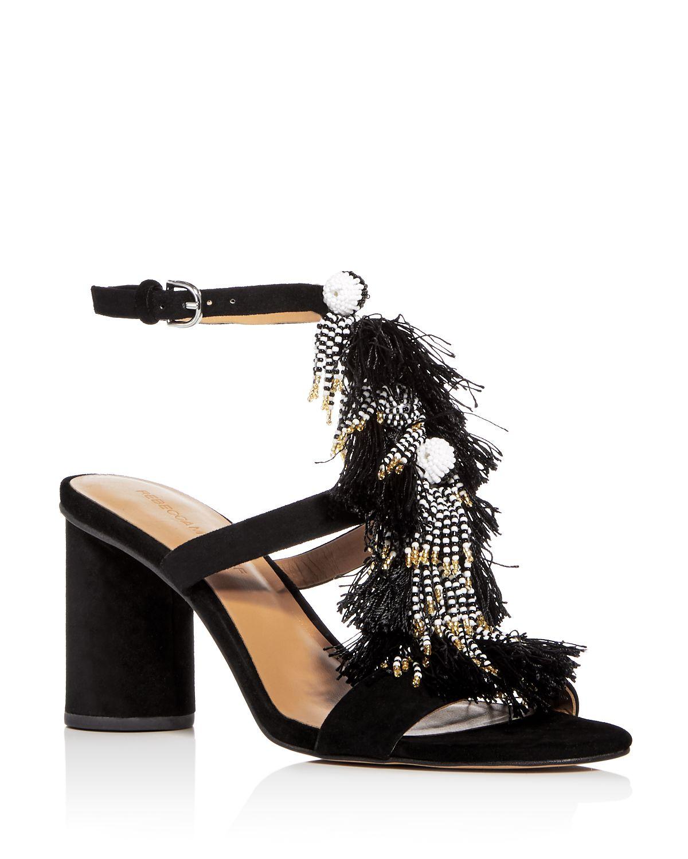 Rebecca Minkoff Women's Alnie Suede Beaded Tassel High-Heel Sandals