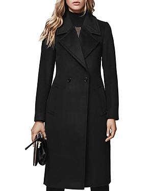 Reiss Lawson Faux Fur-Trimmed Wool Coat