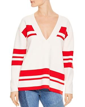 Sandro Polvo Striped V-Neck Sweater