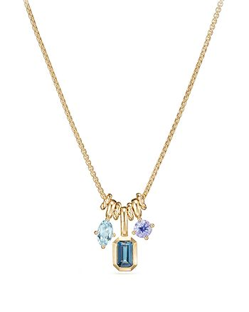 David Yurman - Novella Pendant Necklace with Hampton Blue Topaz, Aquamarine & Tanzanite