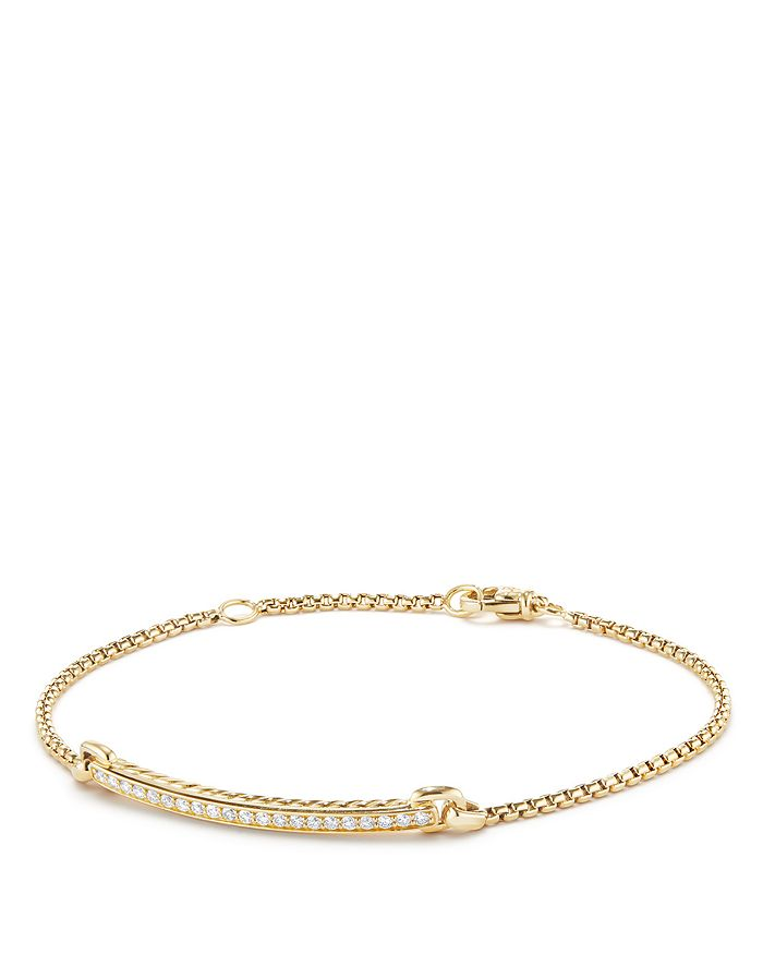 David Yurman Petite Pave Station Chain Bracelet With Diamonds In 18k Gold In White/gold
