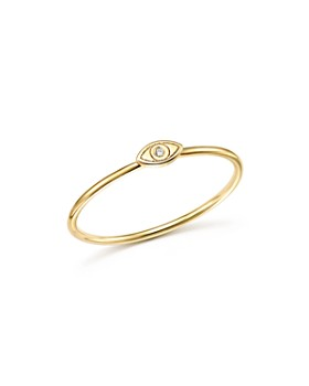 Zoë Chicco - 14K Yellow Gold Itty Bitty Evil Eye Diamond Stacking Ring