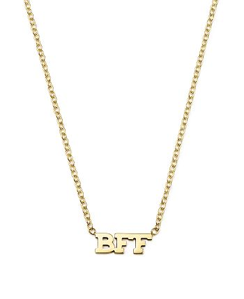 """Zoë Chicco - 14K Yellow Gold Tiny BFF Necklace, 16"""""""